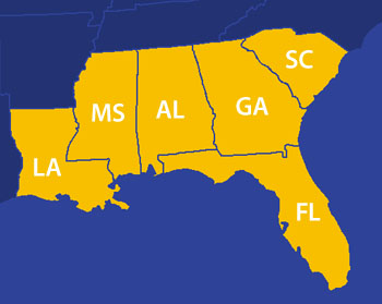 SITA and SITAcx provide HVAC testing, adjusting and balancing, and indoor air quality measurements, building envelope analysis, building air barrier testing, and building commissioning in the Southeast United States, including the following states: Florida, Georgia, South Carolina, Alabama, Mississippi, and Louisiana